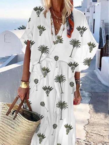 Fashion Casual Print V neck Short sleeve Lacing Falbala Maxi Dresses