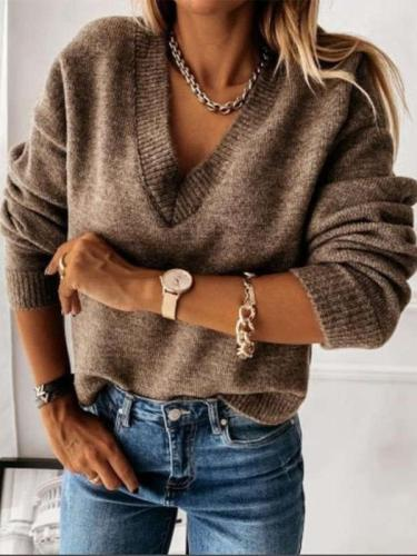 Fashion Pure V neck Long sleeve Knit Sweaters