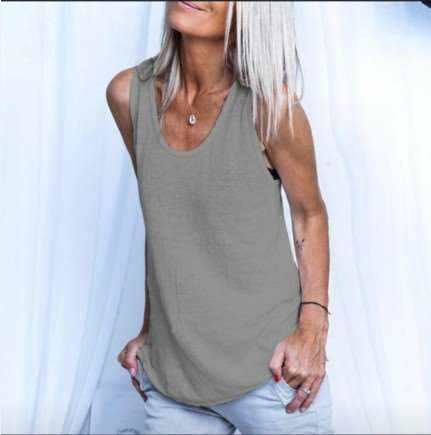 Casual Loose Pure Round neck Sleeveless Vests