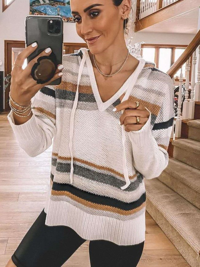 Fashion Casual V neck Hoodies Long sleeve Gored Knit Sweaters