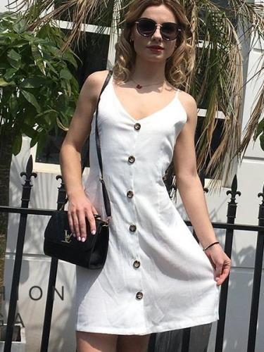 Sexy V neck Lacing Backless Vest Shift Dresses