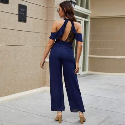 Fashion Pure Halter Off shoulder Short sleeve Jumpsuits