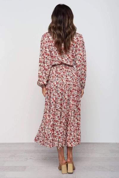 Fashion Print Lacing V neck Long sleeve Skater Maxi Dresses