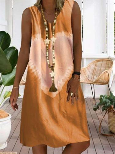 Casual V neck Print Sleeveless Shift Dresses