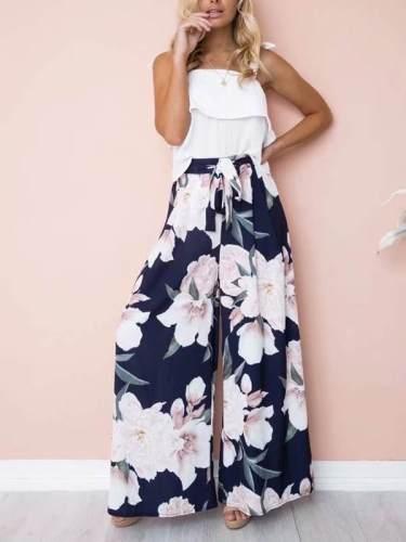 Print loose wide leg trousers for women Tie Waist Long Pants
