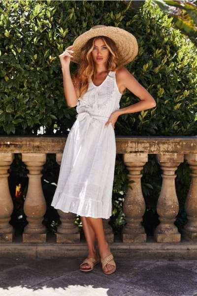 Fashion V neck Sleeveless Lacing Purl Maxi Dresses