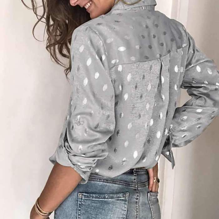 Loose Long sleeve Point Lapel Blouses