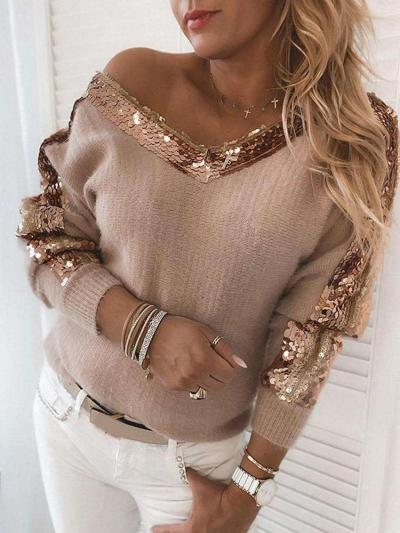 Fashion Gored Paillette V neck Long sleeve Knit Sweaters