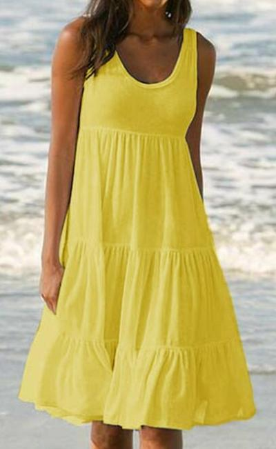 Plus Sleeveless Solid Color Maxi Dresses
