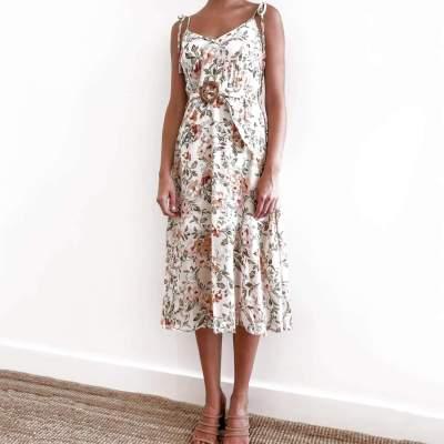 Fashion Print V neck Vest Sleeveless Lacing Skater Dresses