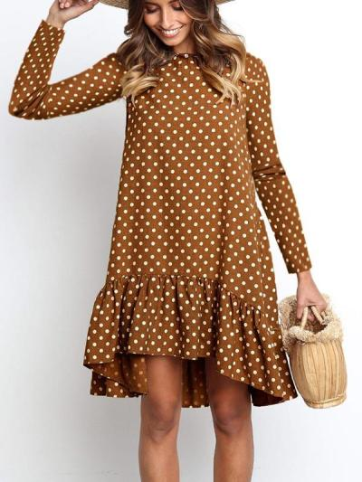 Women polka dot printed shift dresses