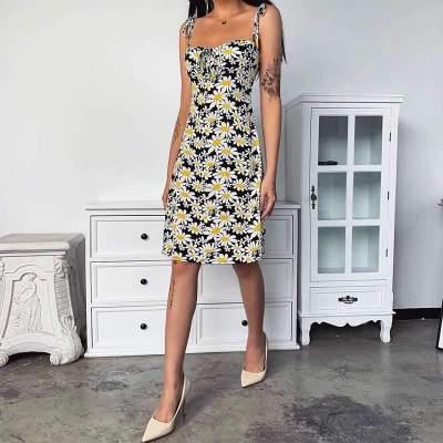 Sexy Vest Print Sleeveless Skater Dresses