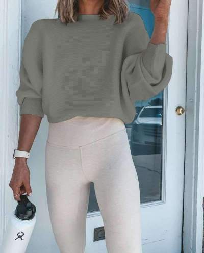 Fashion Pure Round neck Long sleeve Knit Sweaters
