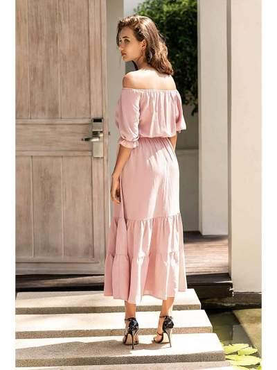 Fashion Pure One shoulder Gored Skater Dresses
