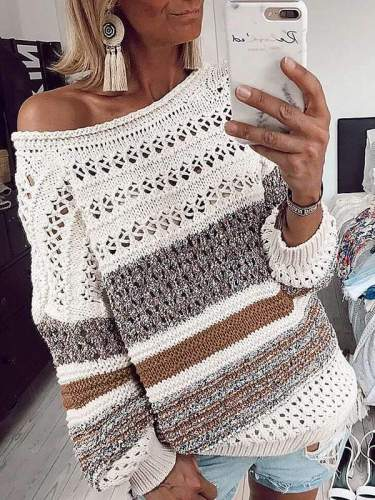 Chic more colors round neck women long sleeve knit sweaters