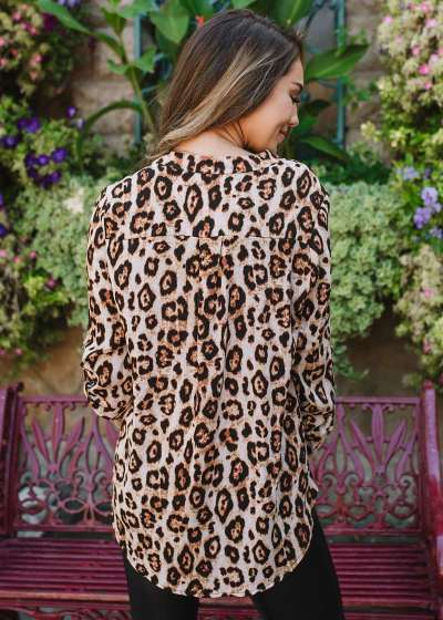 Fashion Leopard print V neck Long sleeve T-Shirts