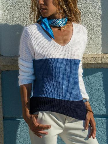 V Neck Multicolor Woman Daily Slim Sweater