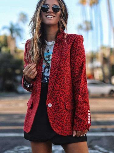 Casual Leopard print Lapel Long sleeve Blazer