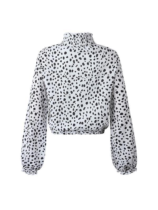 Fashion floral printed high neck women long sleeve blouses