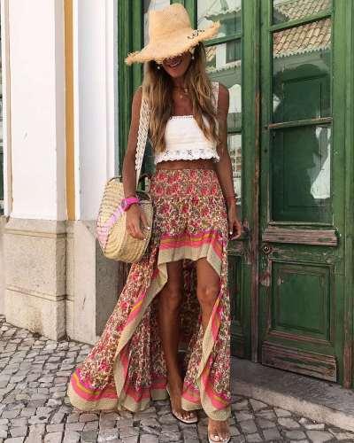 Fashion Print Irregular Skirts