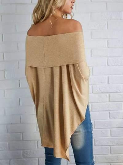Fashion Off shoulder Irregular Drape T-Shirts