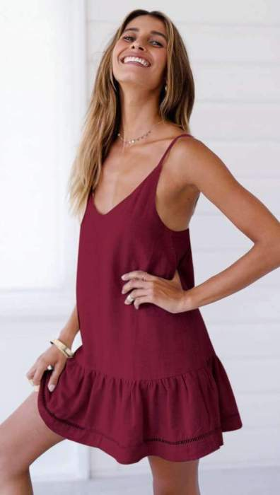 Casual V neck Backless Vest Shift Dresses