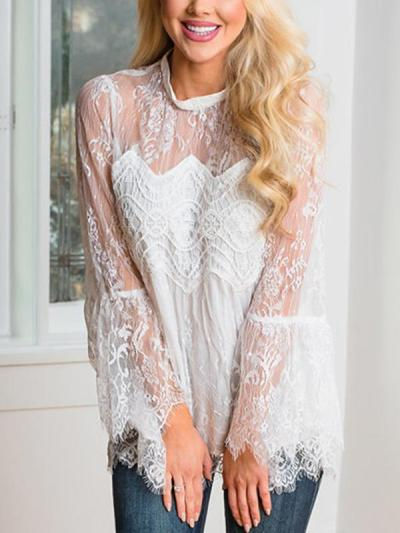 Sexy Lace Women Long Sleeve Blouses