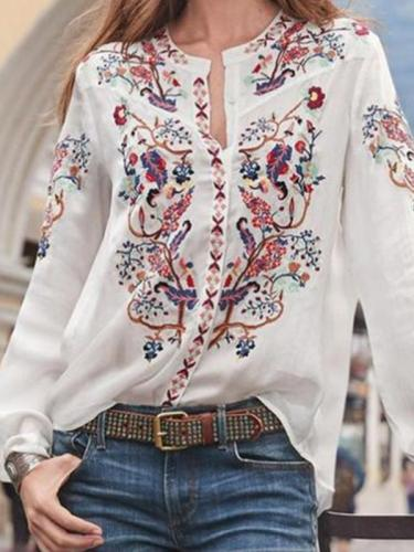 Women loose printed long sleeve bohemia style blouses