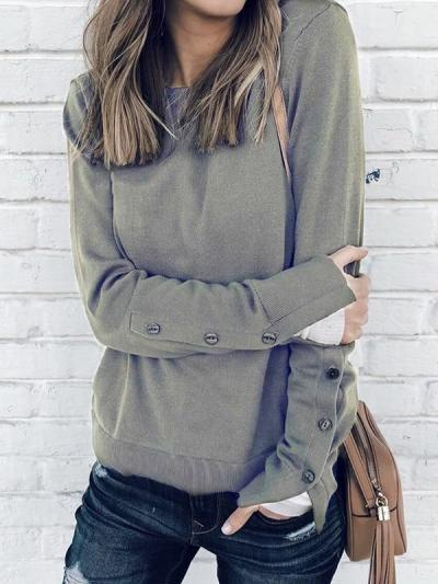Round neck women long sleeve button T-shirts
