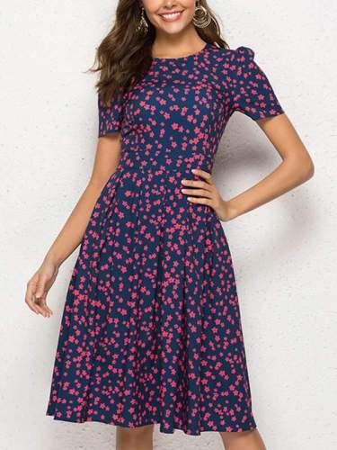 Vintage A-linen Printed Short Sleeve Skater Dresses