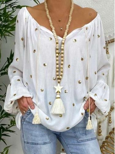 Casual Loose Print V neck Long sleeve Irregular T-Shirts