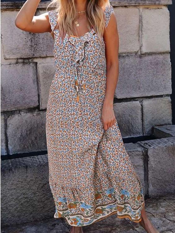 Casual V neck Print Sleeveless Vest Maxi Dresses