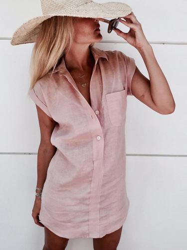 Plain Short Sleeve Cotton Linen Blouses