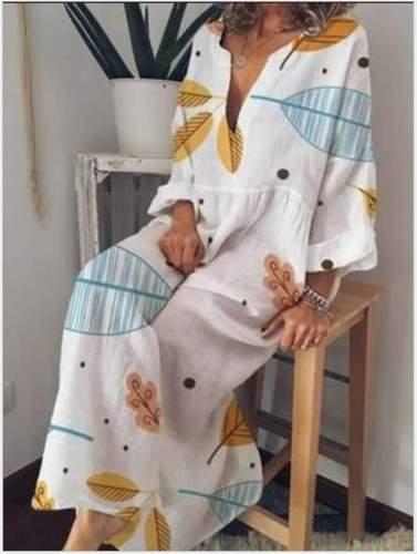 Fashion Loose Print V neck Maxi Dresses