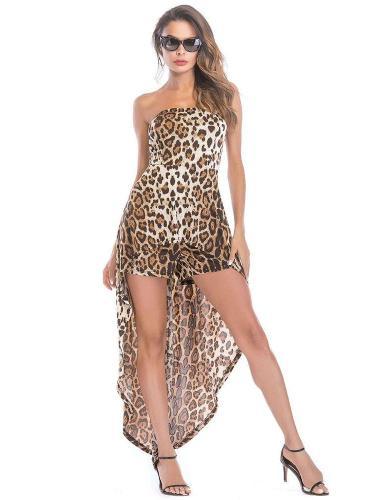 Sexy Leopard print Off shoulder Jumpsuits