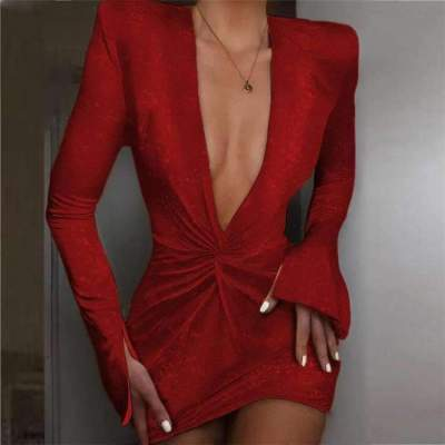 Fashion Sexy Pure V neck Long sleeve Bodycon Evening Dresses