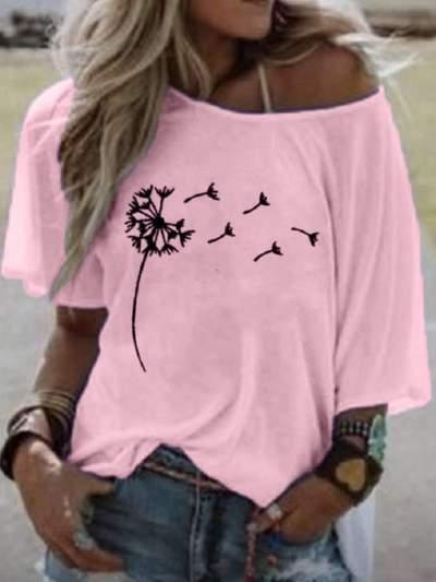 Casual Print Round neck Half sleeve T-Shirts