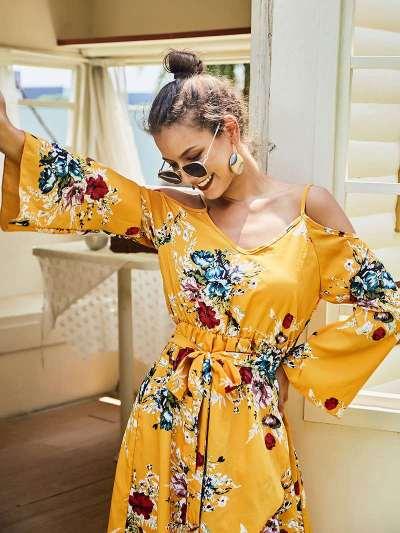 Fashion V neck Off shoulder Vest Long sleeve Print Skater Dresses