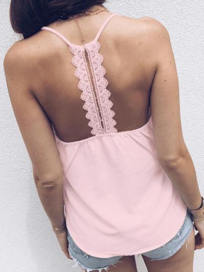 Chic Women V neck Strap Pink Vests