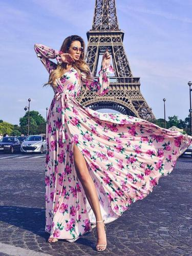 Flower Printed Belt Tie Maxi Vacation Big Hem Dresses