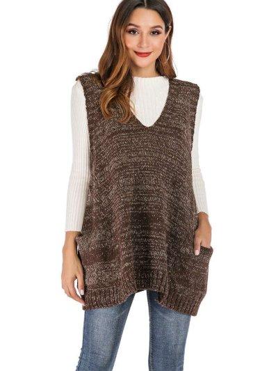 Fashion Loose Knit V neck Waistcoat Sweaters