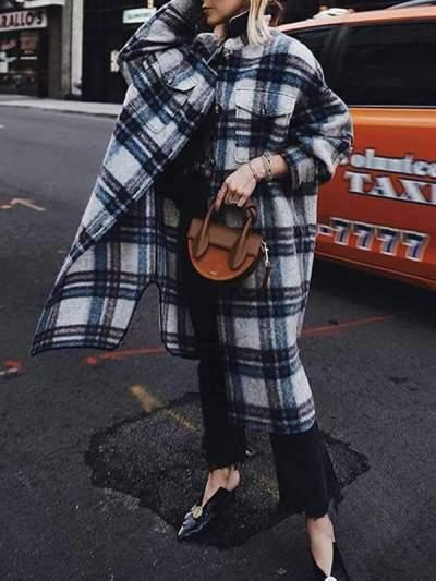 Stylish long sleeve plaid lapel collar coats
