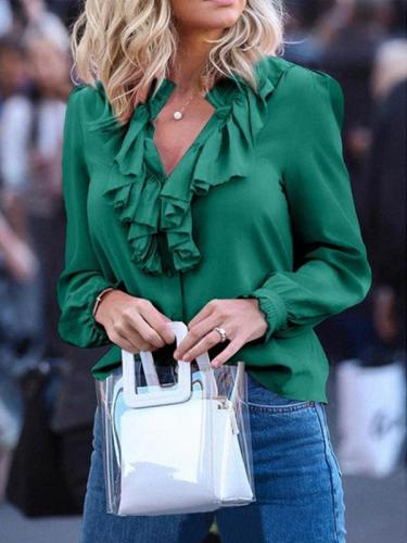 Solid color ruffled v-neck chiffon blouses