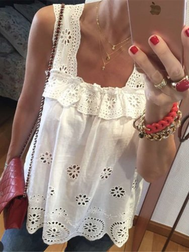 Fashion Pure Lace Hollow out Vests