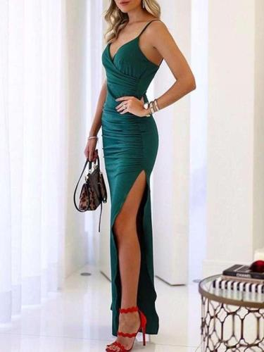 Sexy Vent Drape Vest Evening Dresses