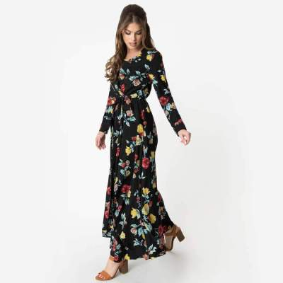 Fashion Print Long sleeve Lacing Maxi Dresses