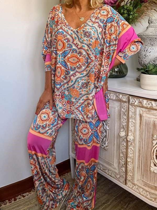 Casual Loose Print V neck Suit