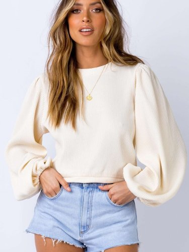 Pure Round neck Puff sleeve Sweaters