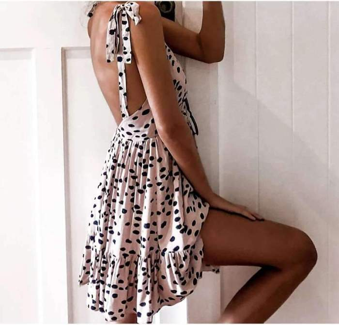 Casual Sexy Point print Vest Backless Vacation Dresses