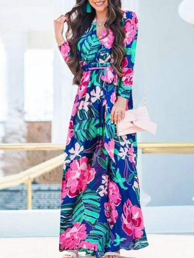 Floral printed long sleeve v neck long maxi dresses